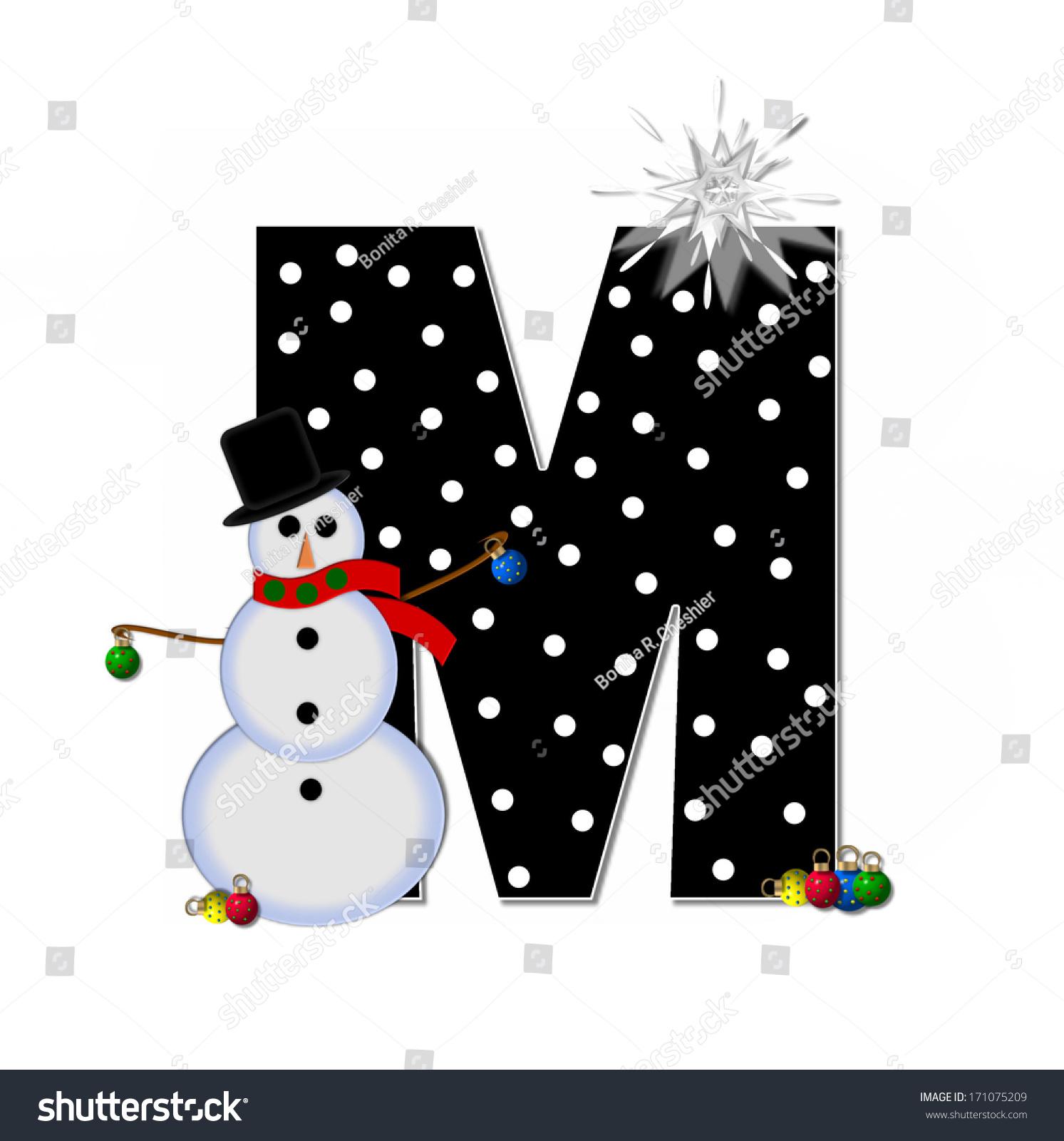 Letter M Alphabet Set Frosty Black Stock Illustration