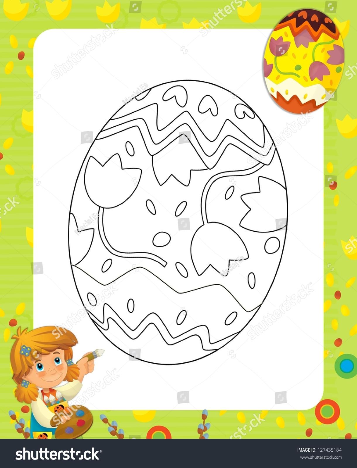 Page Exercises Kids Easter Illustration Children Stock