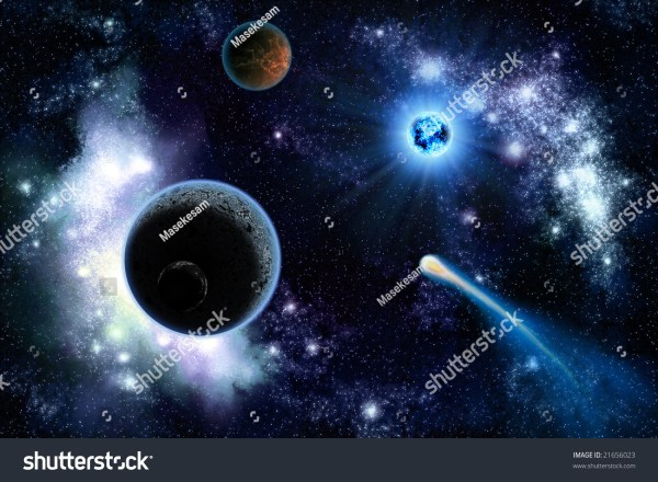 The Two Planets Solar System Deep In The Galaxy Stock ...