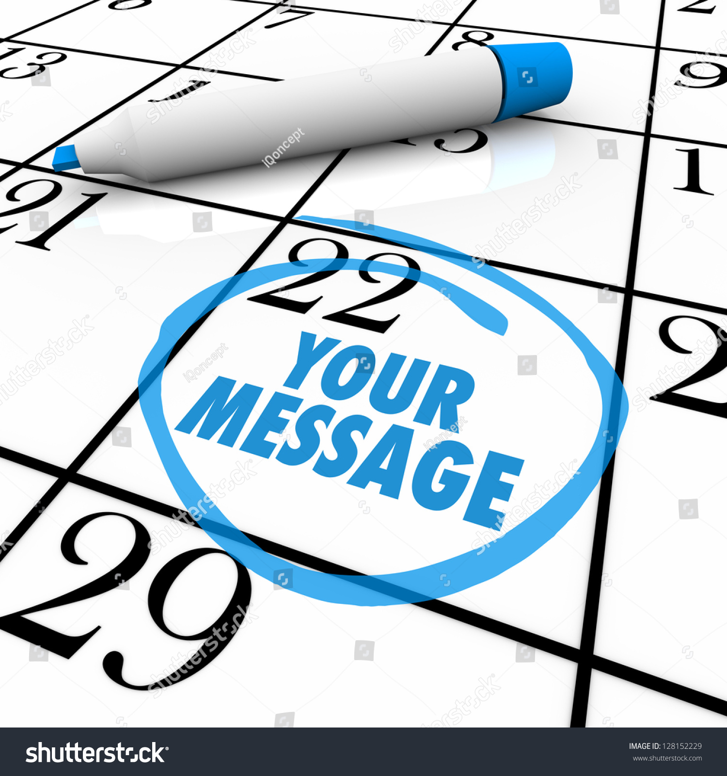 The Words Your Message Circled On A Calendar Or Event Planner To Remind You Of An Important
