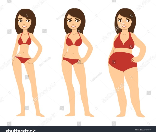 Three Cartoon Young Women Of Various Body Types Skinny Average And Chubby The