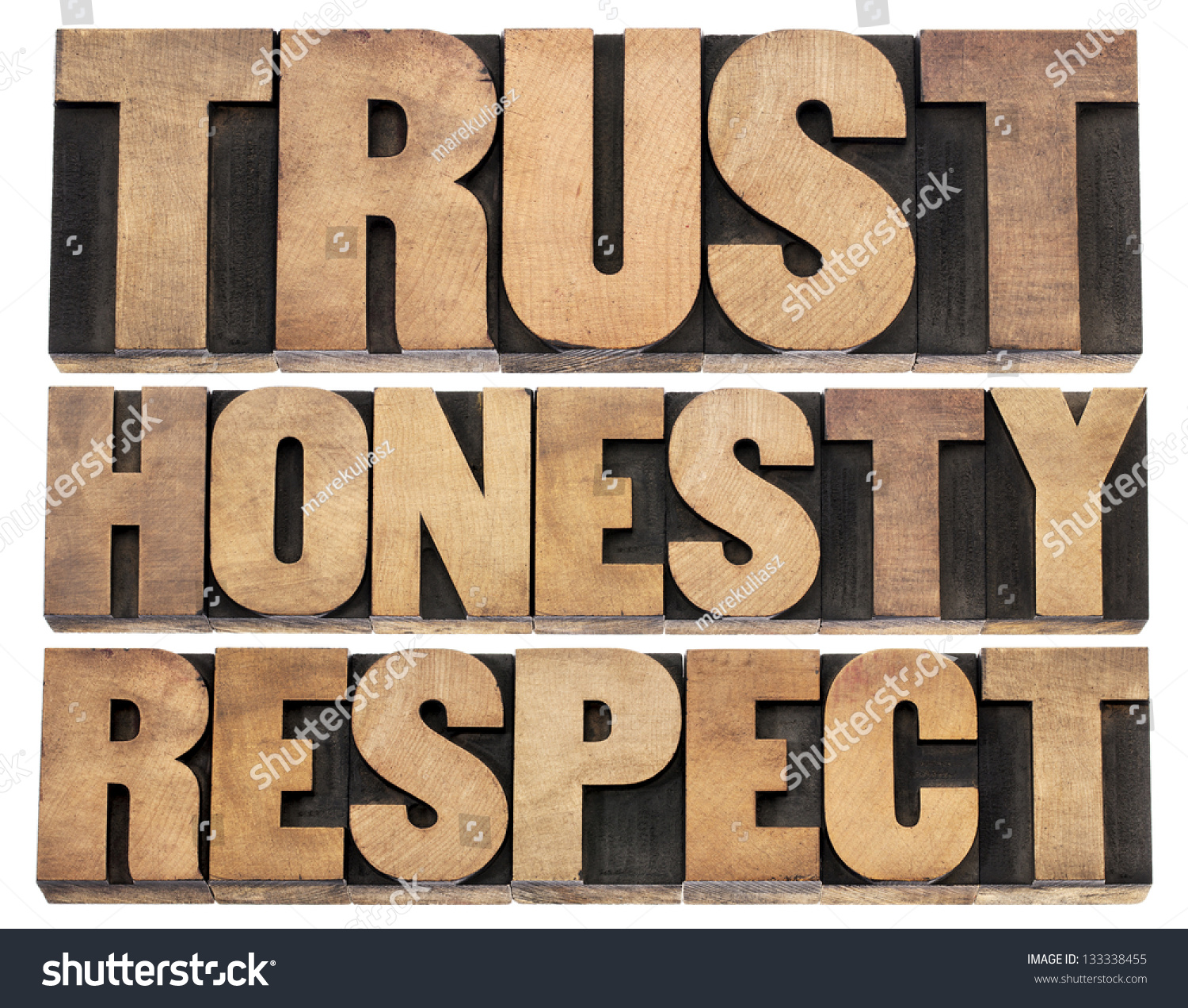 Trust Honesty Respect Isolated Words Vintage Stock Photo