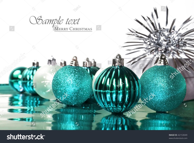Turquoise Blue Christmas Decorations Stars On Stock Photo