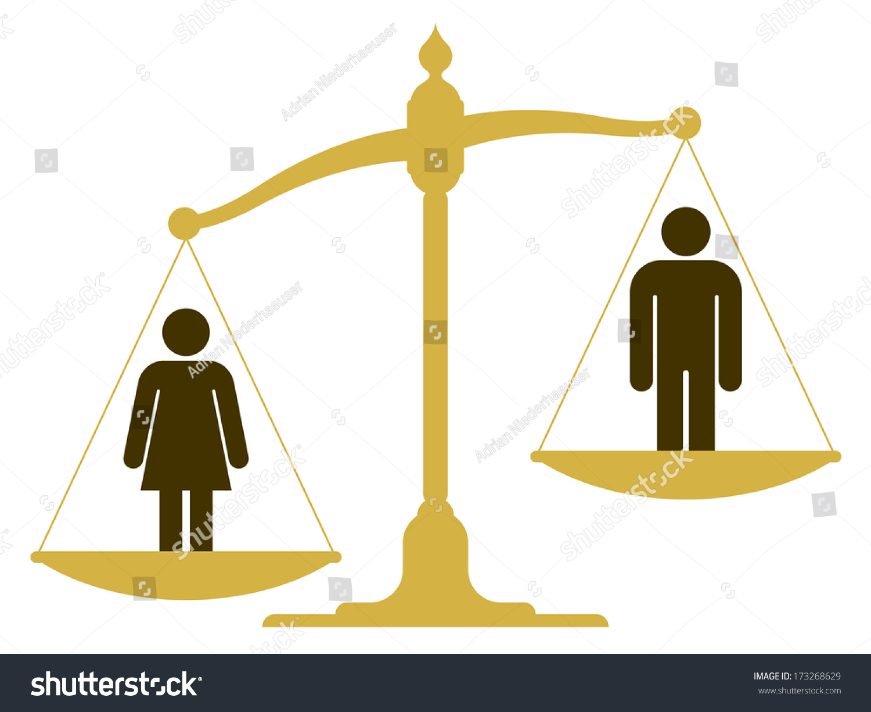 Unbalanced Old Fashioned Pan Scale Man Stock Illustration
