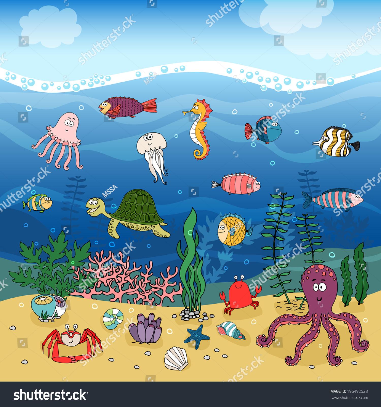 Underwater Ocean Life Handdrawn Illustration Under Stock