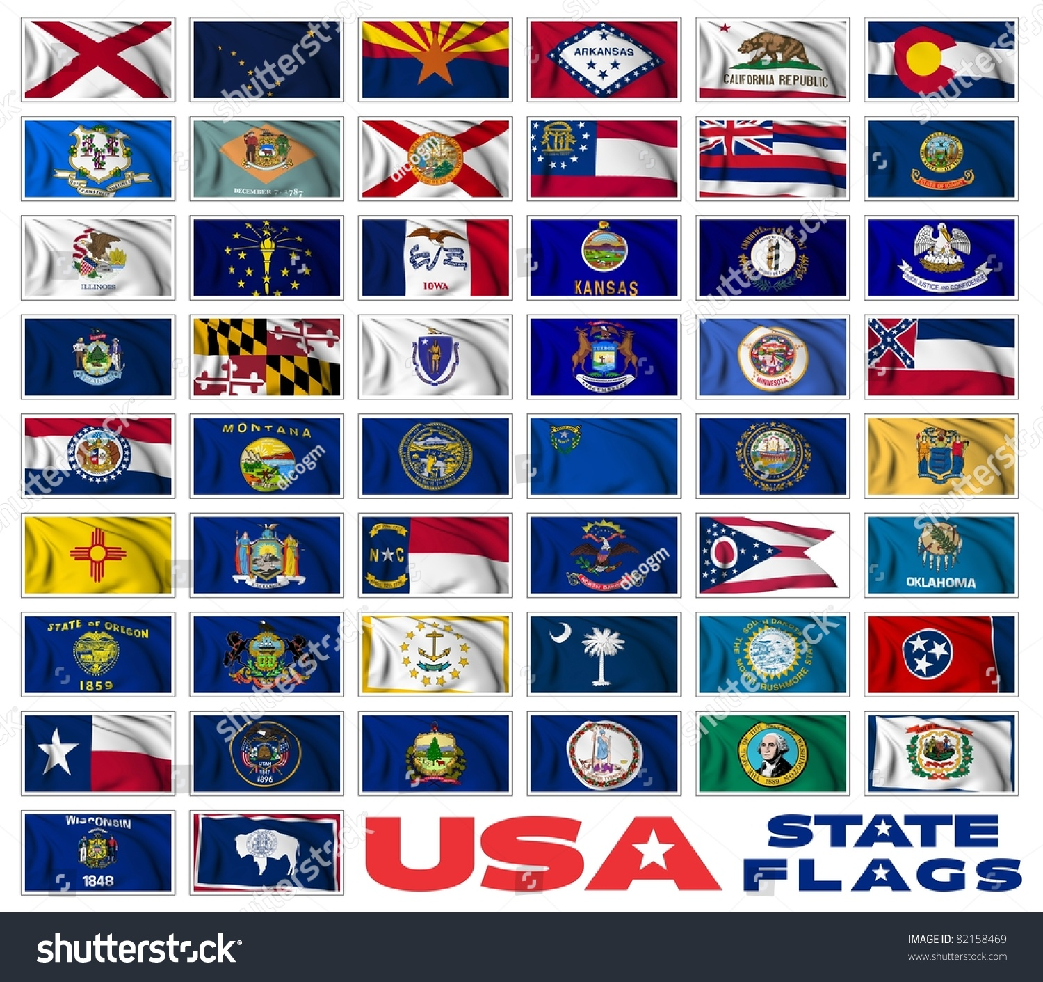United States America States Flags Collection Stock