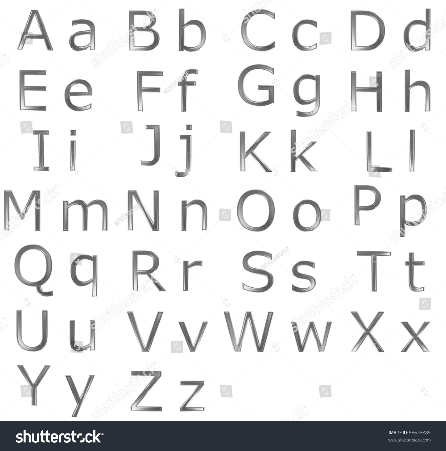 Upper Lower Case Alphabet Letters Steel Stock Illustration