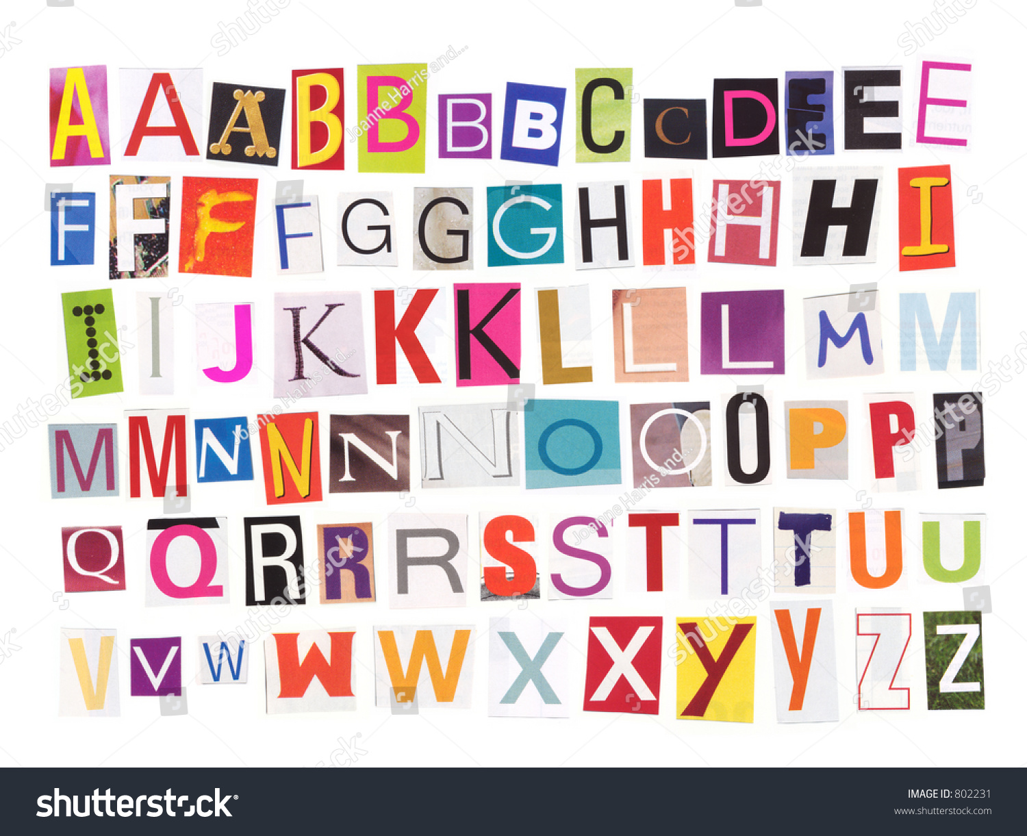 Uppercase Magazine Cutouts Isolated Make Your Stock Photo