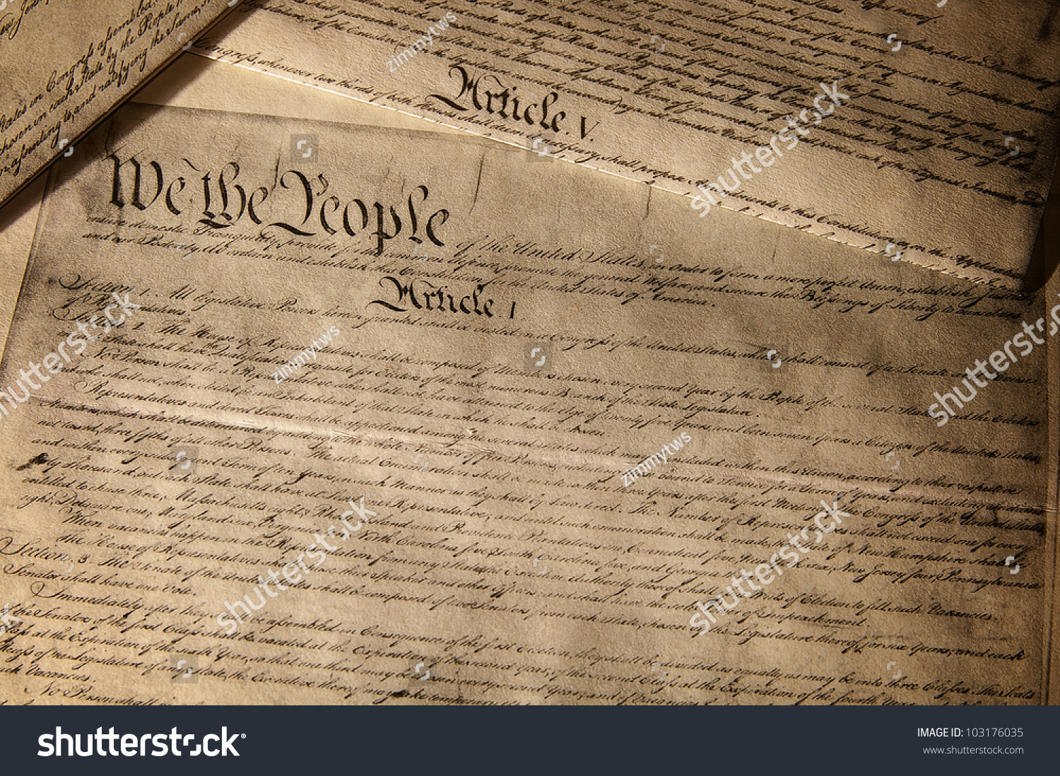 Us Constitution Document Showing Article 1 Stock Photo