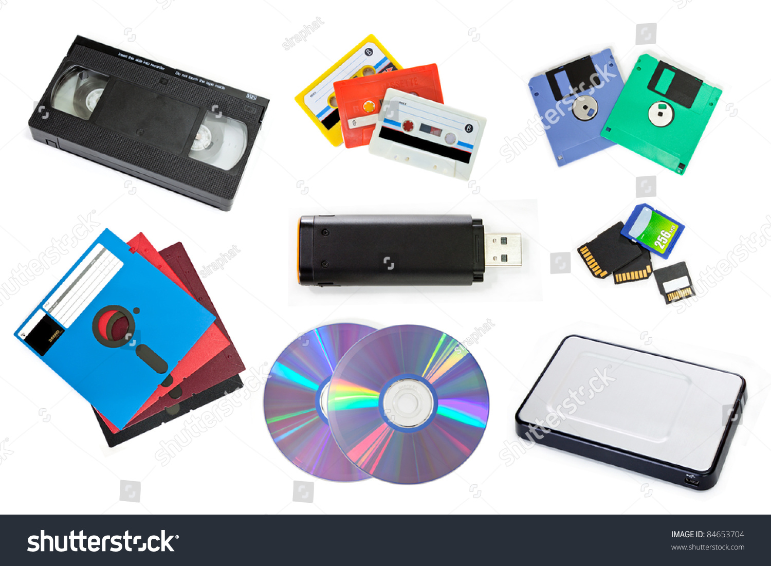 Variety Storage Device Isolated Stock Photo