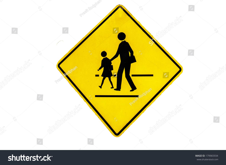 Walking Across Street Signs Stock Photo