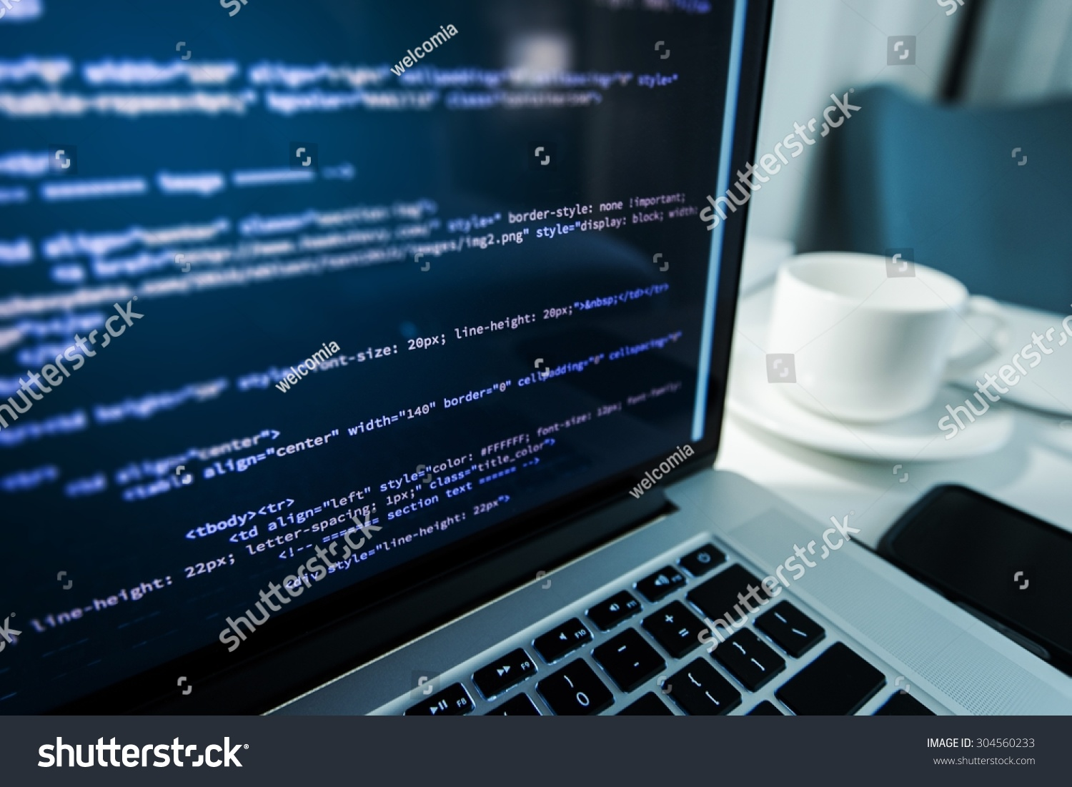 Website Coding Website Html Code On Stock Photo