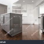 White Kitchen Gray Island Built Modern Stock Photo Edit Now 1320713618