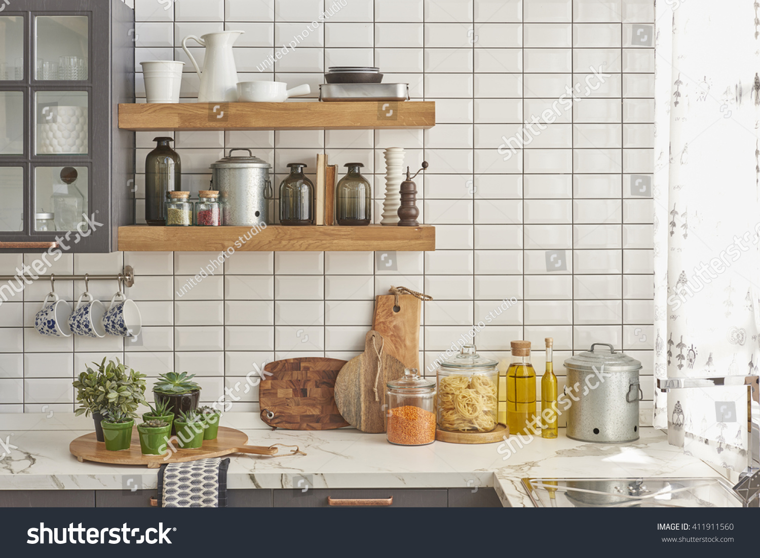 White Tiles Wall Modern Kitchen Chopping Stock Photo