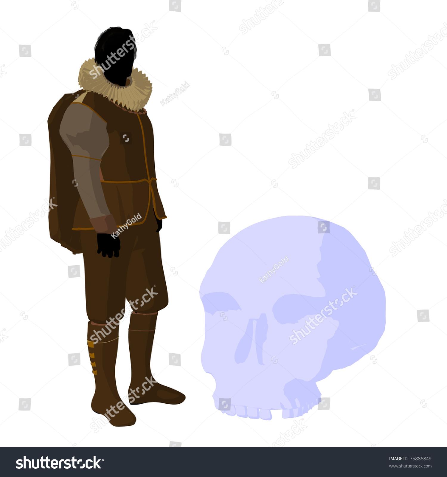 William Shakespeare Skull On White Background Stock