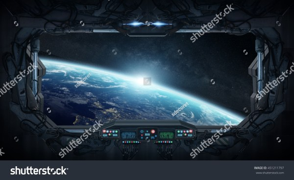Window View Planet Earth Space Station Stock Illustration ...