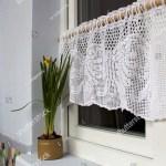 Window White Vintage Crochet Shower Curtain Stock Photo Edit Now 607084709