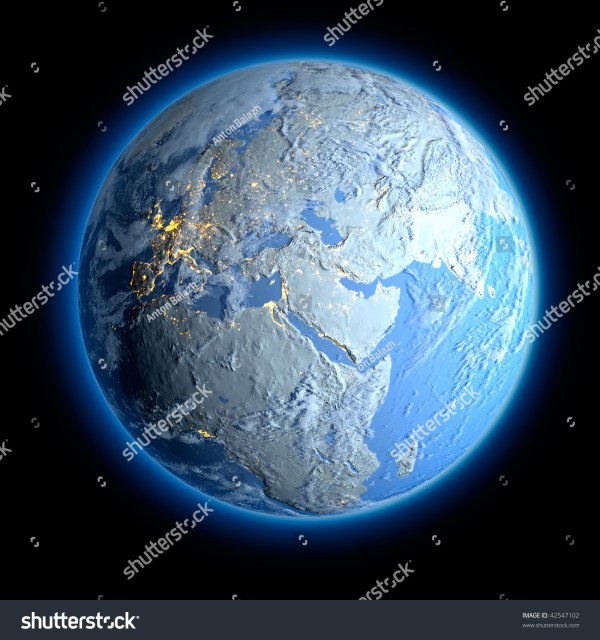Winter Earth. All The Continents Are Covered With Snow And ...