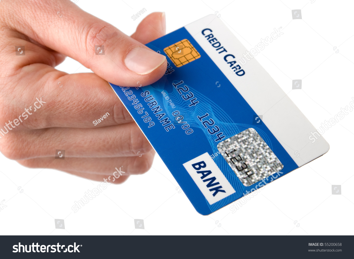 Woman Hold Credit Card In Her Hand. Isolated On White Background. Stock Photo 55200658 : Shutterstock