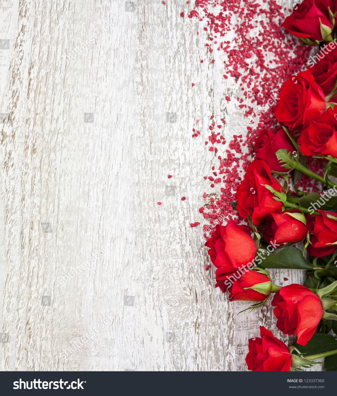 Wood Background Roses Stock Photo 123337360 Shutterstock