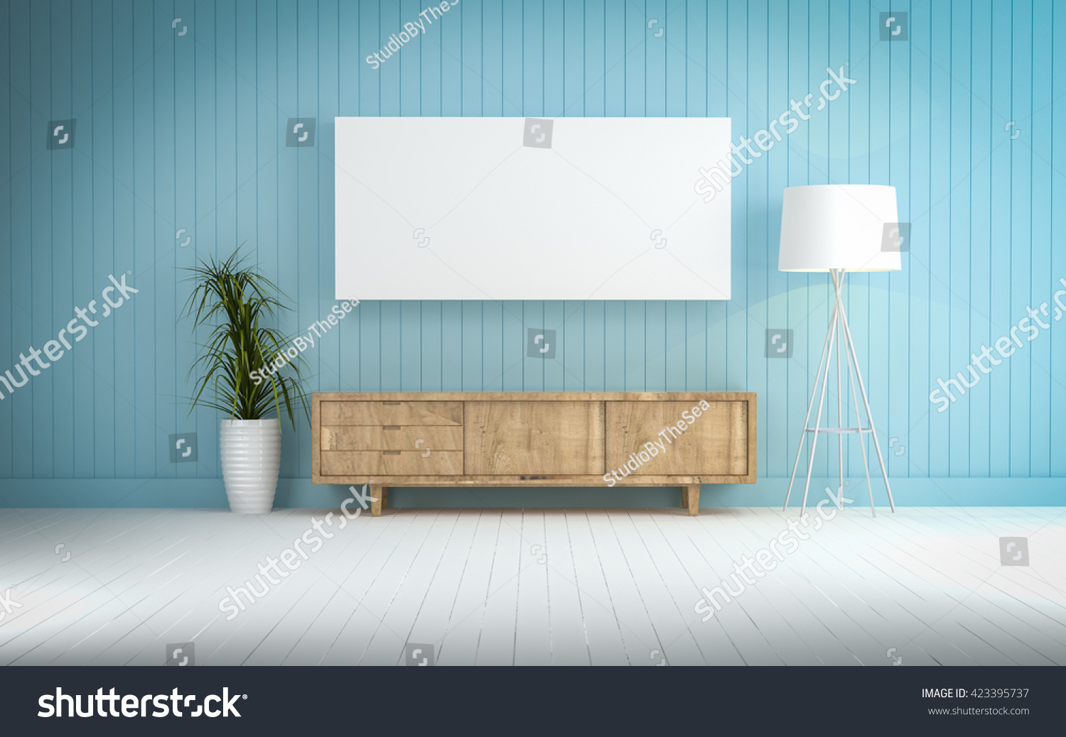 Wood Cabinet In Blue Wall Living Room 3d Rendering Stock