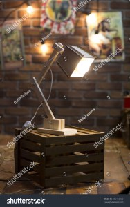 Wooden Lamp On Old Box Vintage Stock Photo Edit Now 596412068