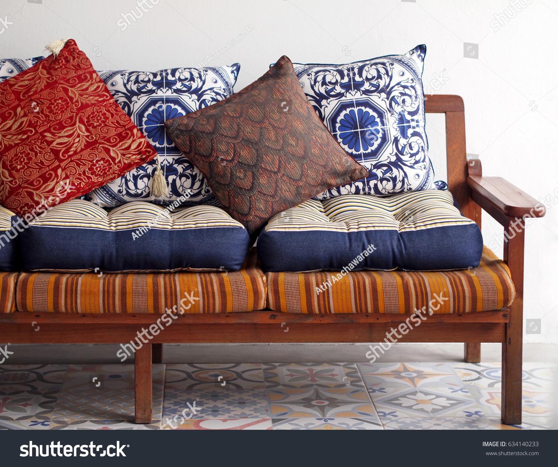 https www shutterstock com image photo wooden vintage sofa asian style blue 634140233