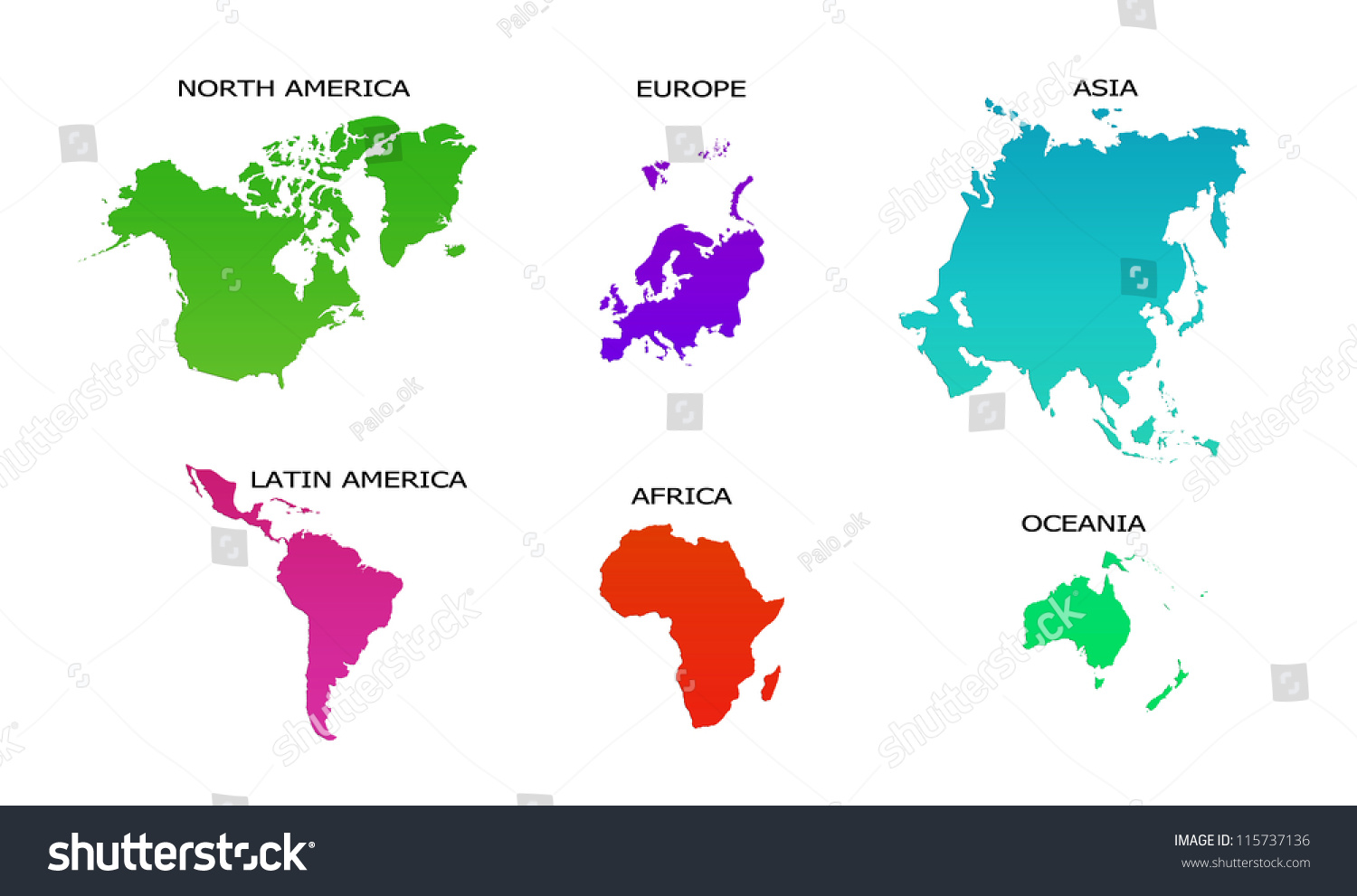 World Map 6 Continents Isolated On Stock Illustration