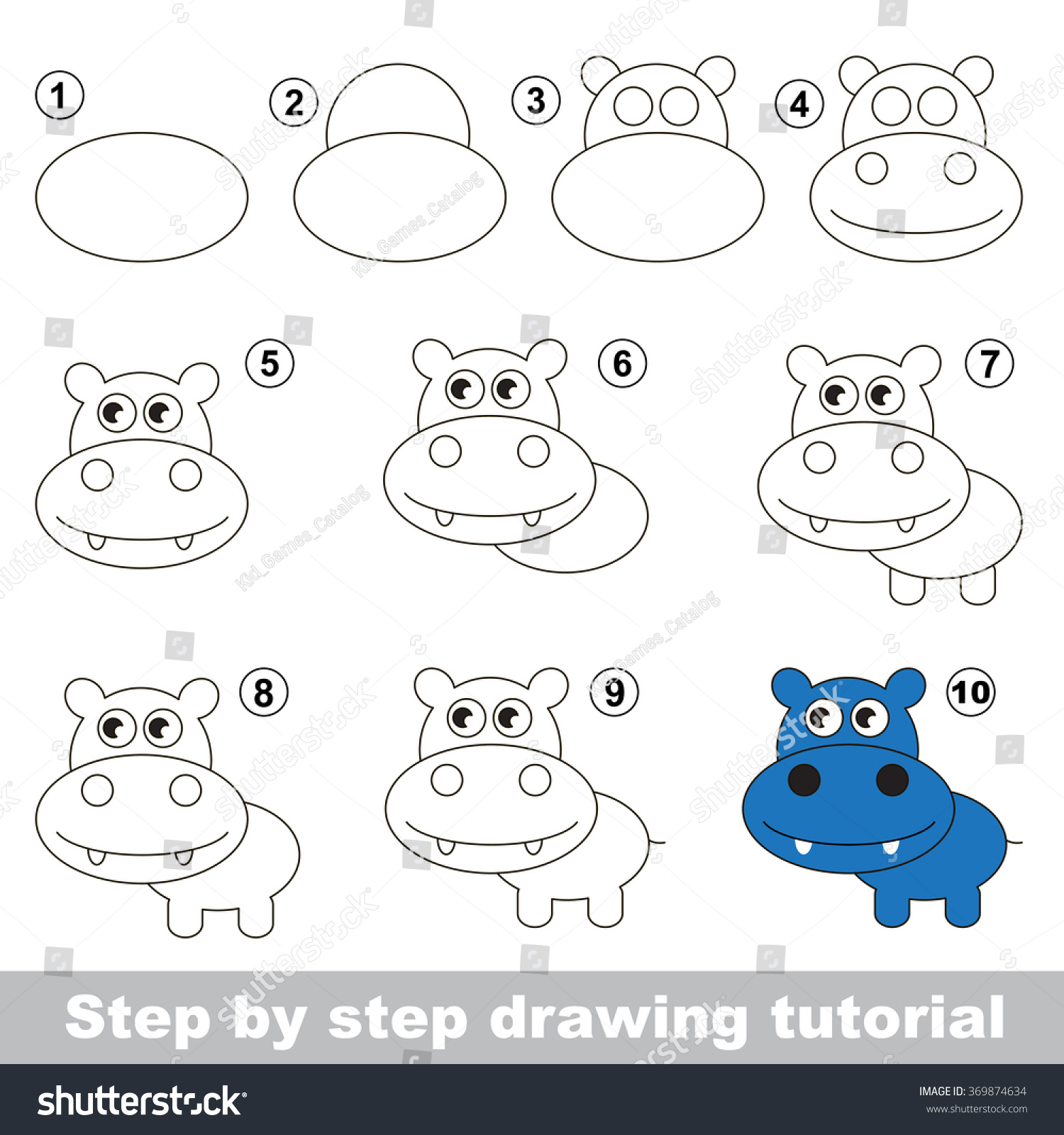 How Draw Cute Hippo Stock Vector