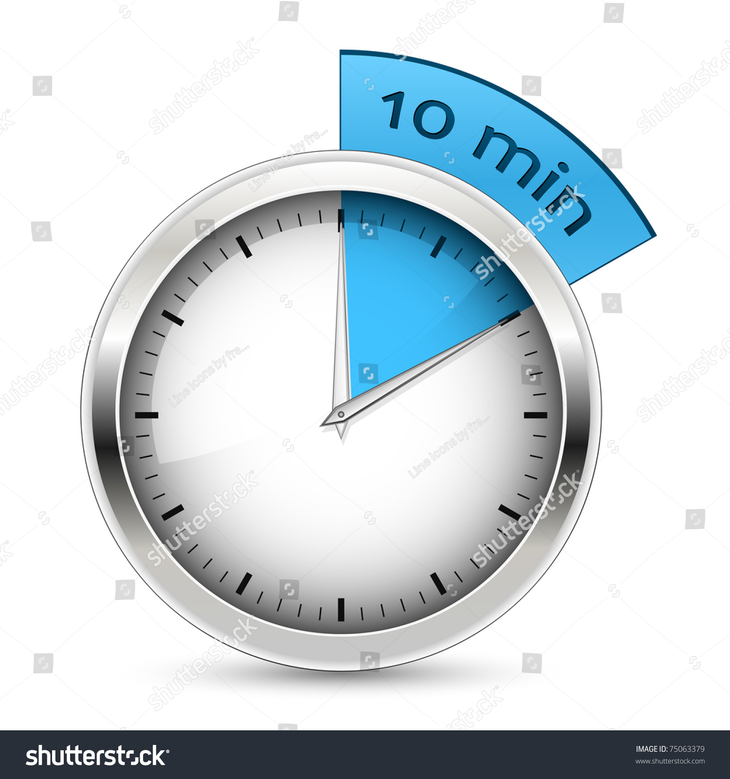 10 Minutes Timer Office Clock Blue Stock Vector