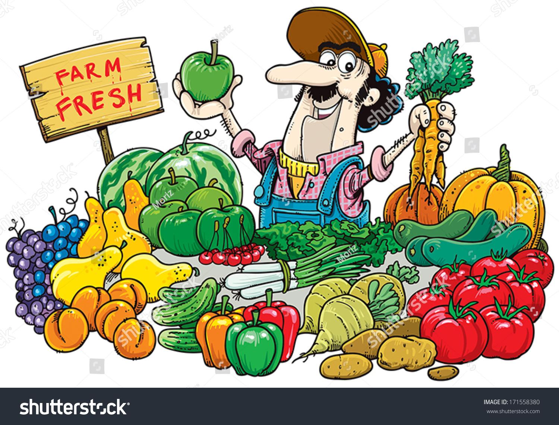 Man Selling Fruit Vegetables Market Stock Vector