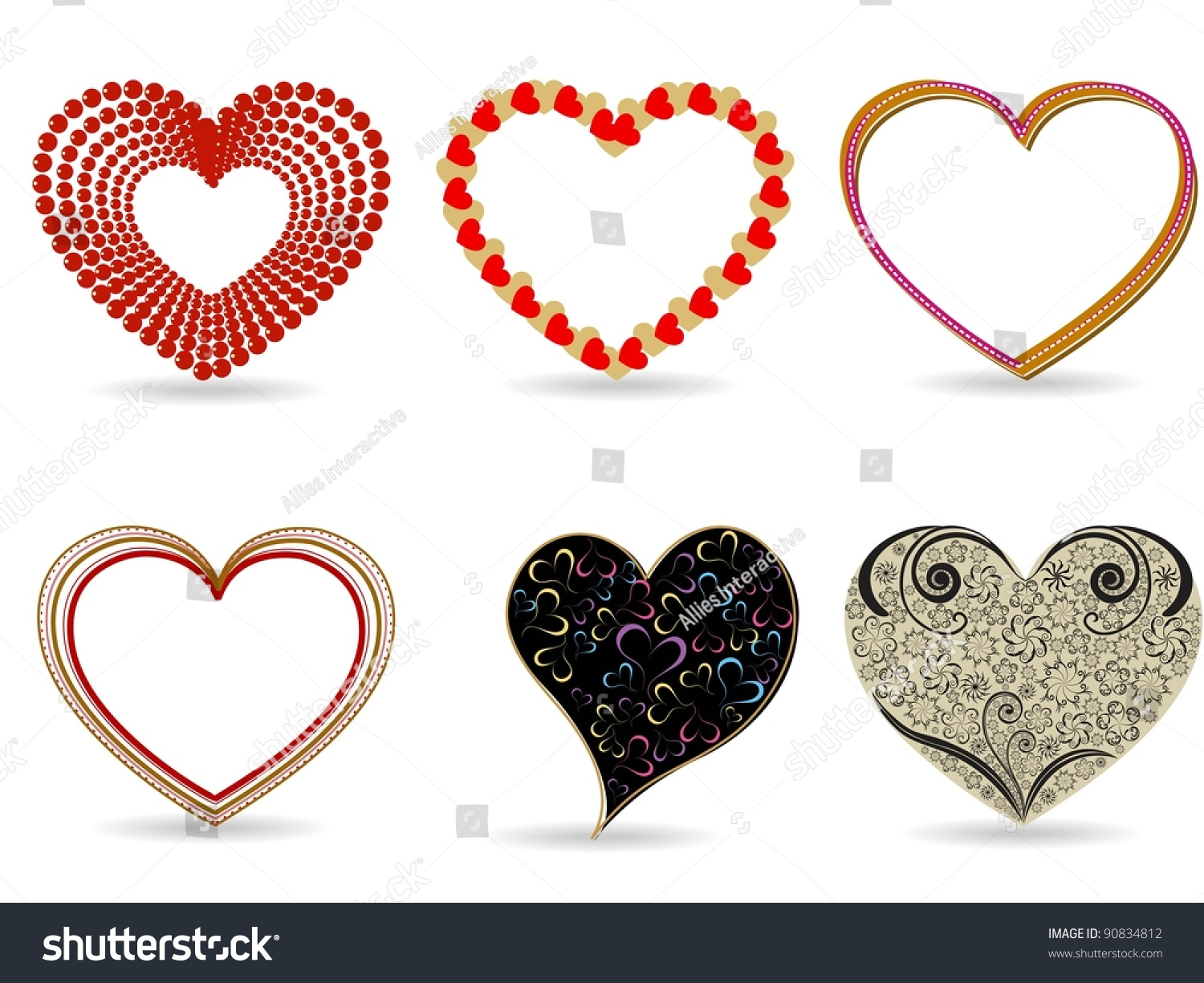 A Set Of Different Style Decorative Hearts Shapes For