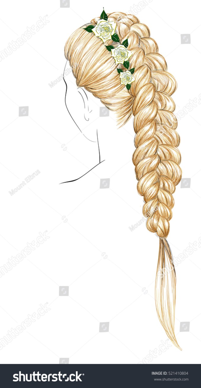 sketch braid hairstyle white roses bridal stock vector