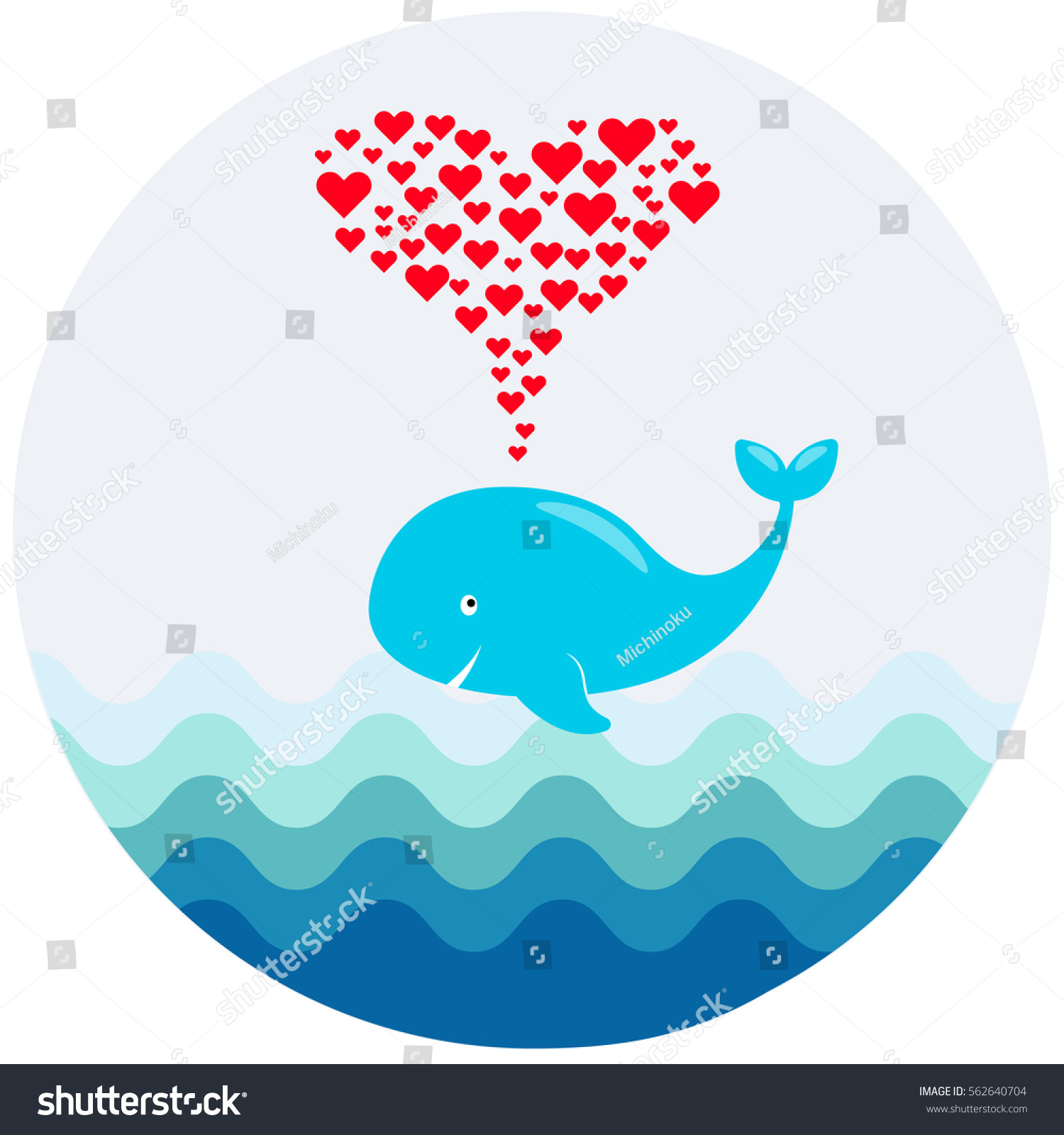 Vector Image Cute Cartoon Whale Hearts Stock Vector