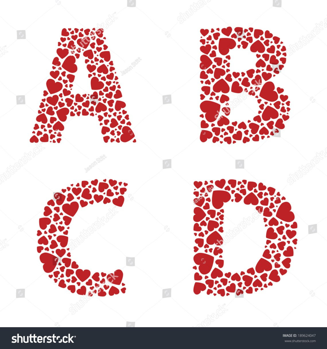 Download Abcd Heart Alphabet Letters Font Stock Vector 189624047 ...