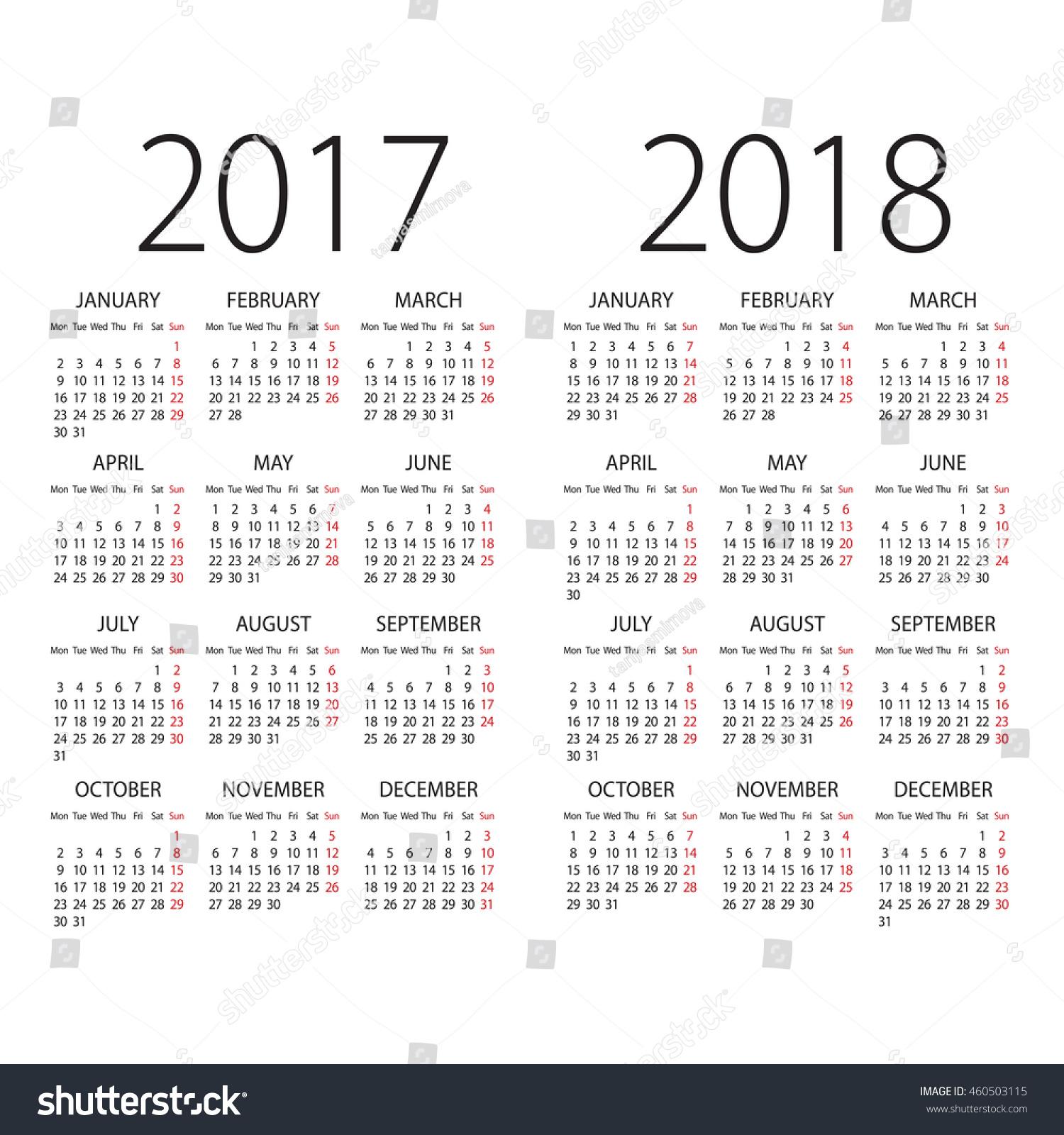 2018 calendar monday first