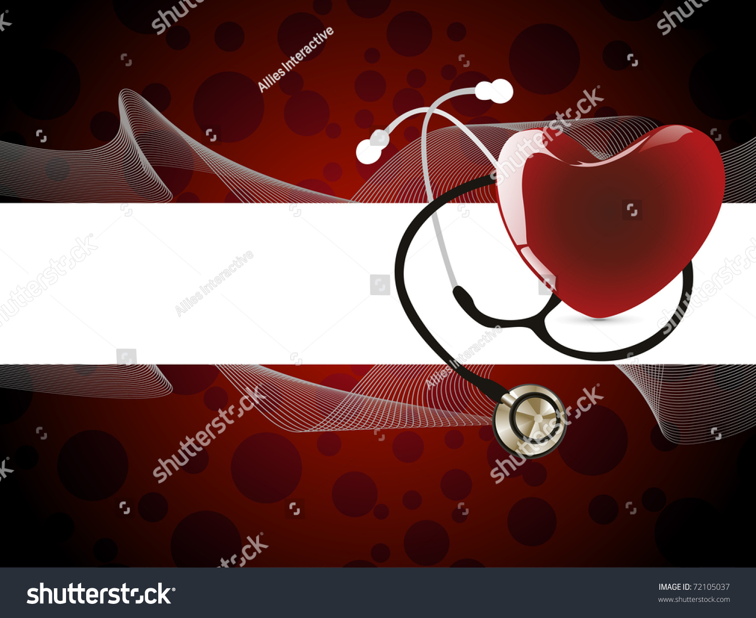 Abstract Wavy Background With Stethoscope And Romantic Red