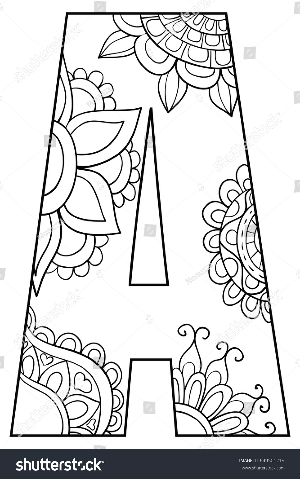 Adult Coloring Page Letter Alphabet Art Stock Vector Royalty Free 649501219