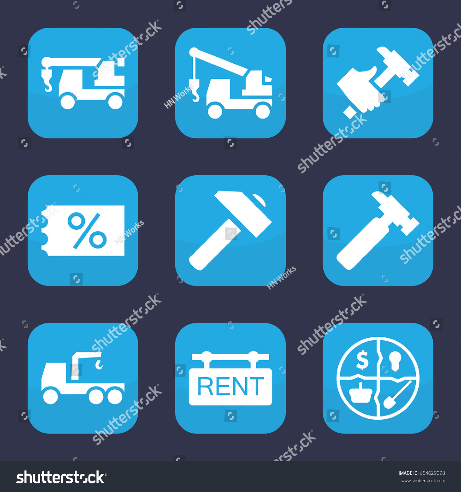 Advertising Icon Set 9 Filled Advertising Stock Vector