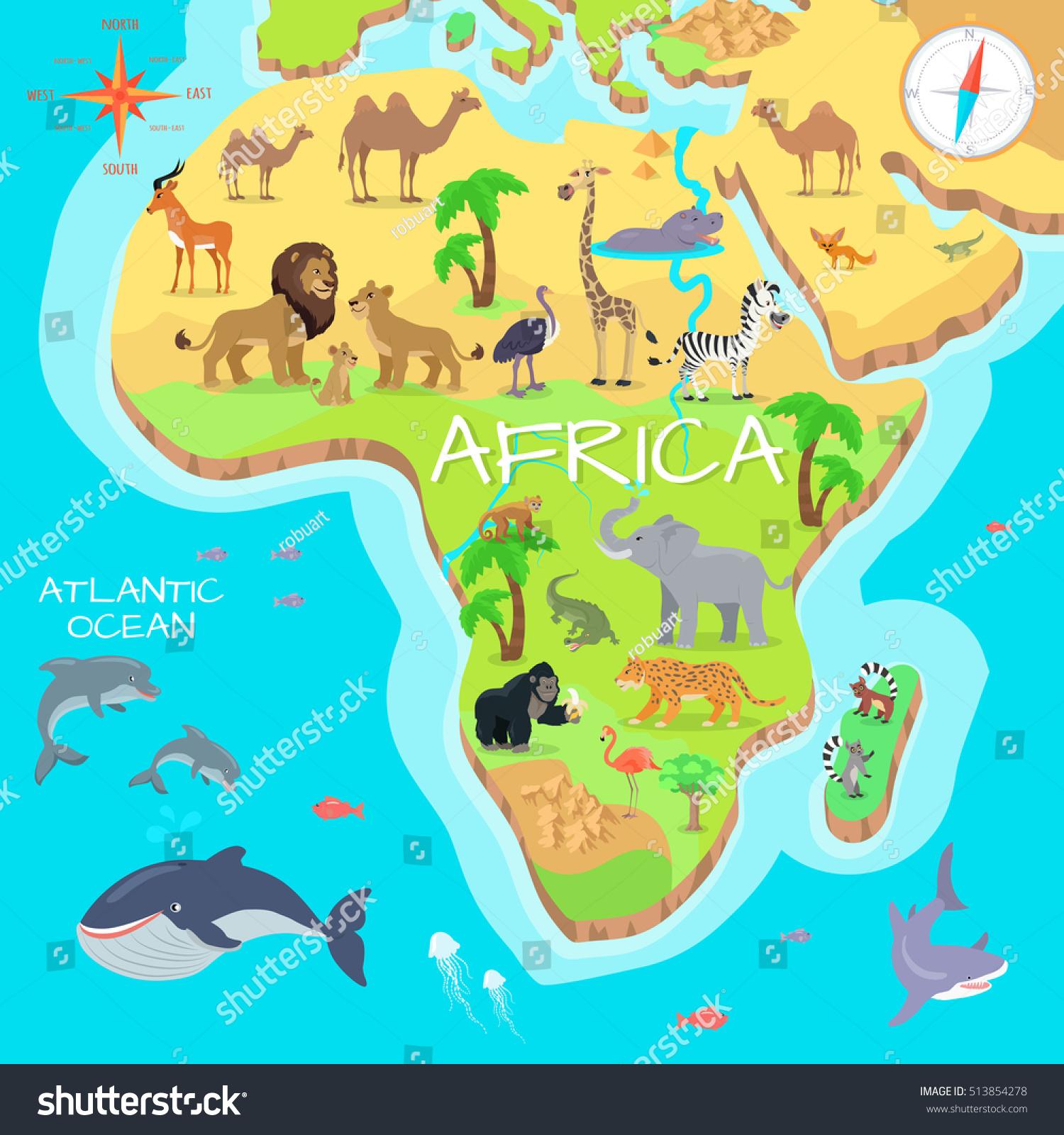 Africa Mainland Cartoon Map Local Fauna Stock Vector