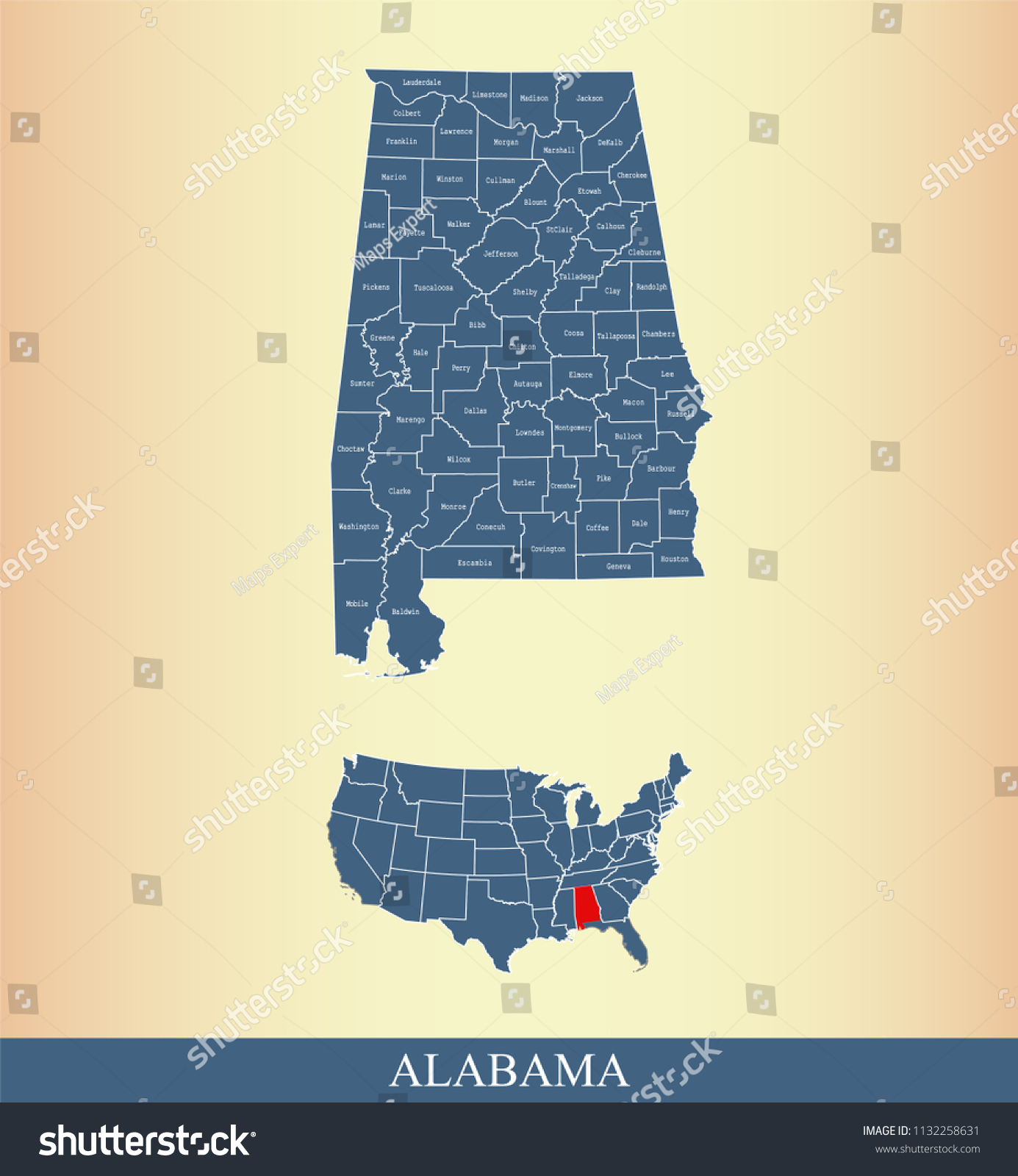 Alabama County Map Vector Outline Counties Stock Vector 1132258631     Alabama county map vector outline with counties names labeled and USA map  in blue background