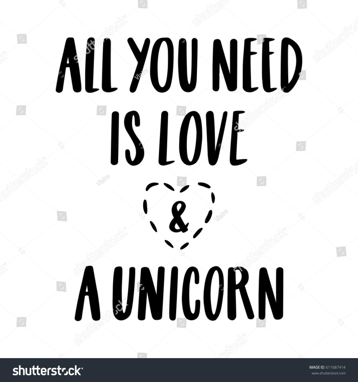 Download All You Need Love Unicorn Quote Stock Vector 611687414 ...