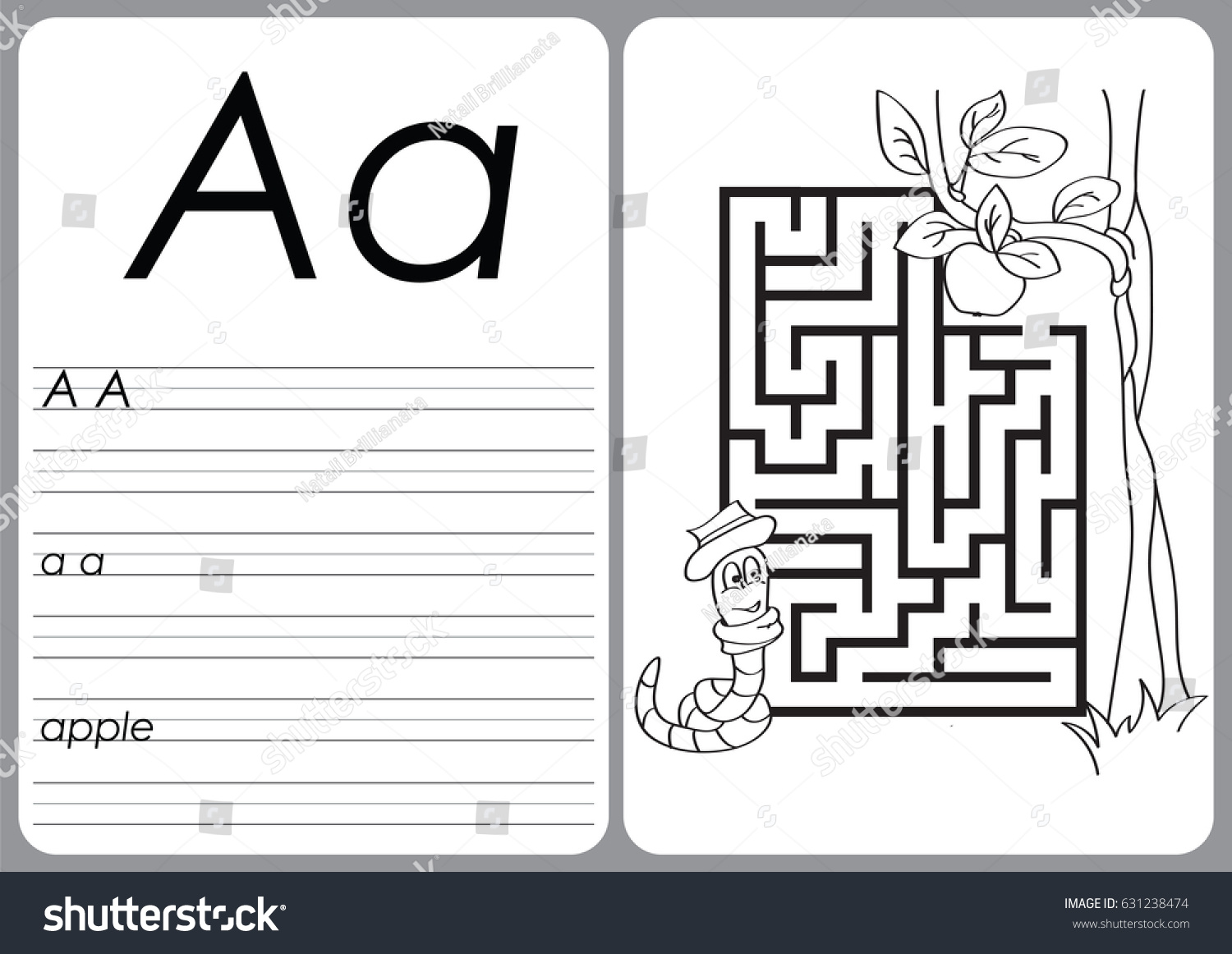 Alphabet Az Puzzle Worksheet Exercises Kids Stock Vector