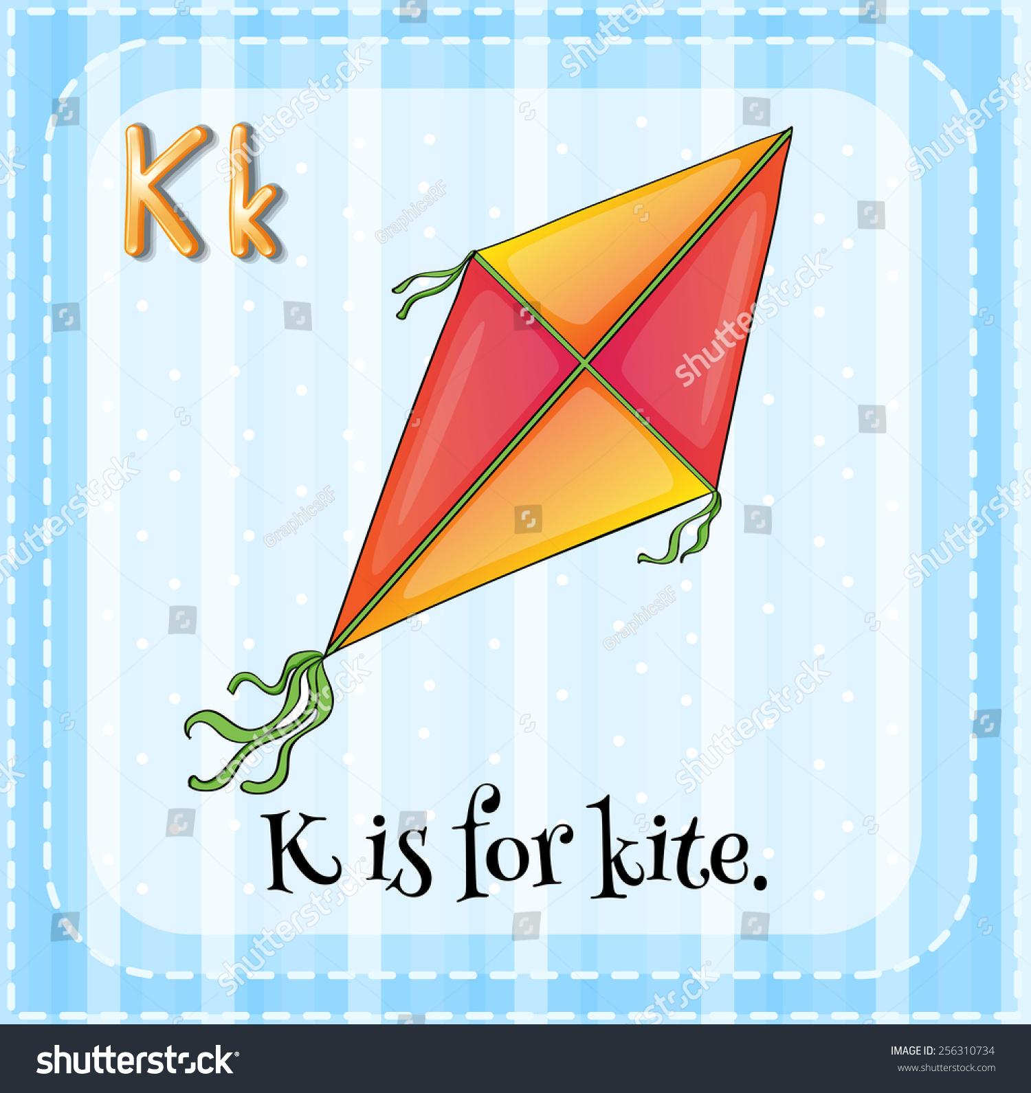 Alphabet K Kite Stock Vector