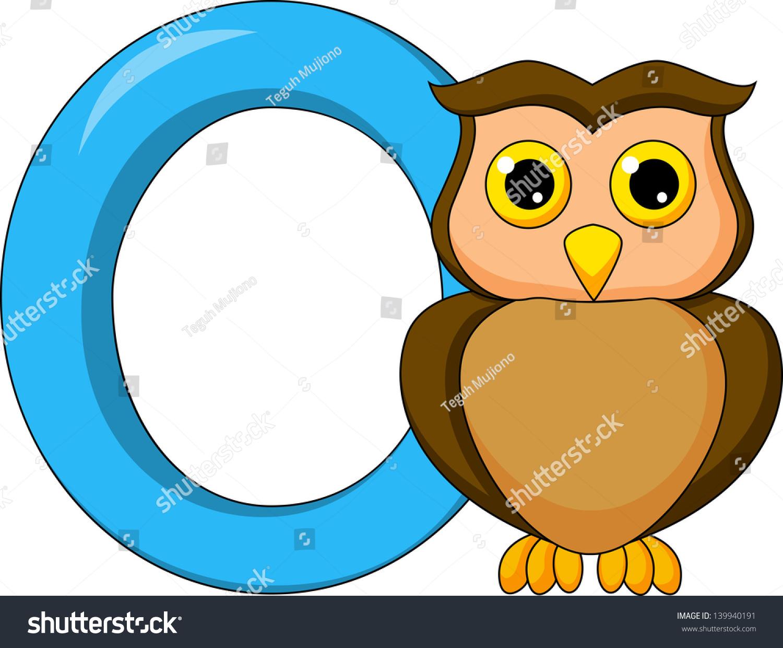 Alphabet O Owl Cartoon Stock Vector