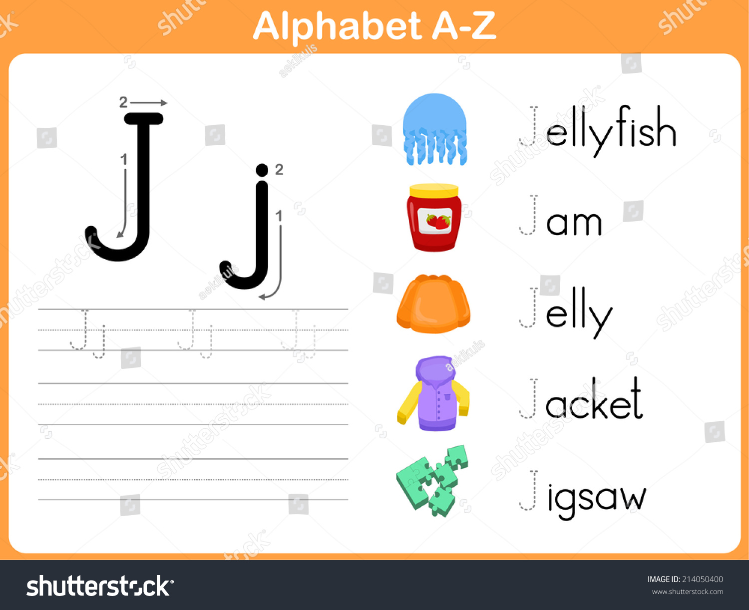 Alphabet Tracing Worksheet Writing A Z Stock Vector Shutterstock