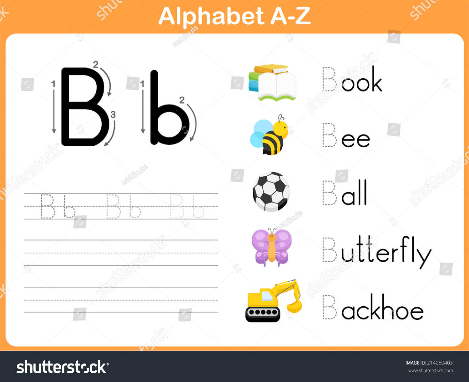Alphabet Tracing Worksheet Writing A Z Stock Vector