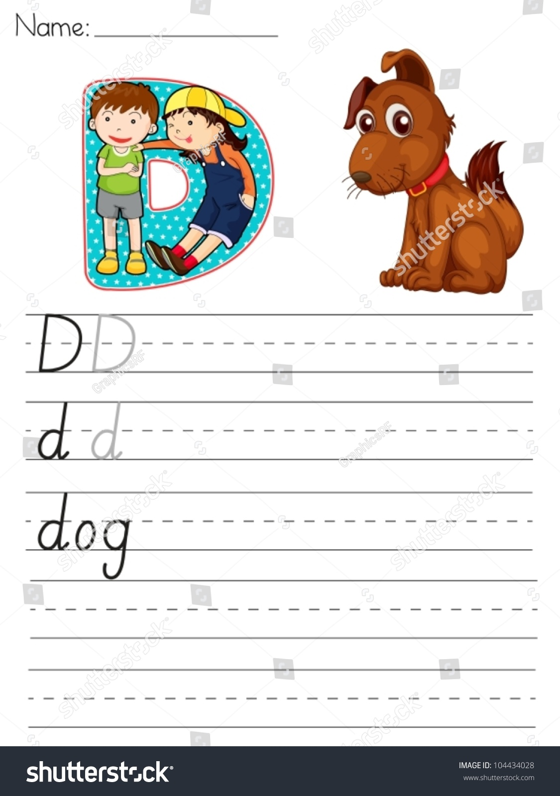 Alphabet Worksheet Of The Letter D Stock Vector