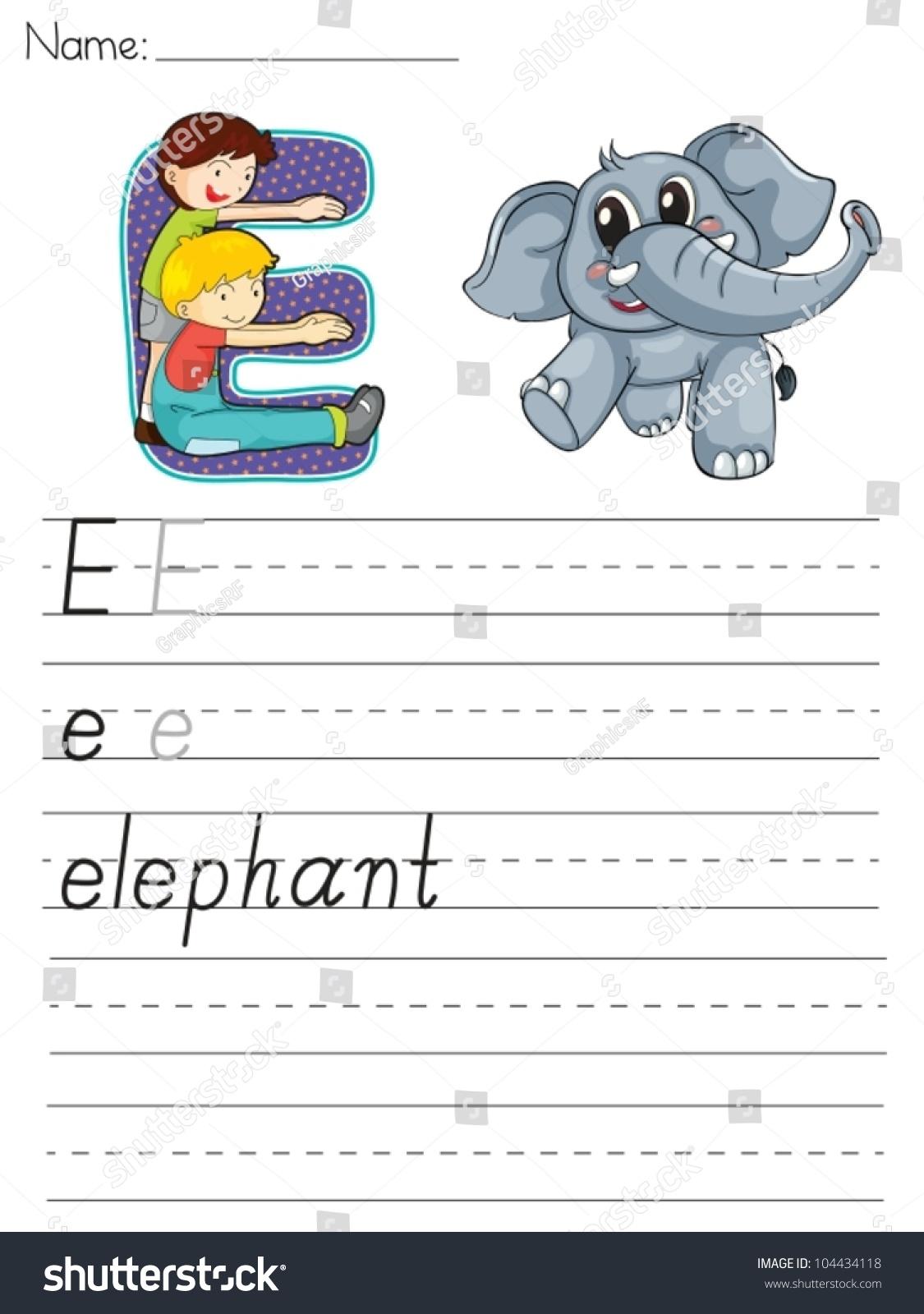 Alphabet Worksheet Of The Letter E Stock Vector