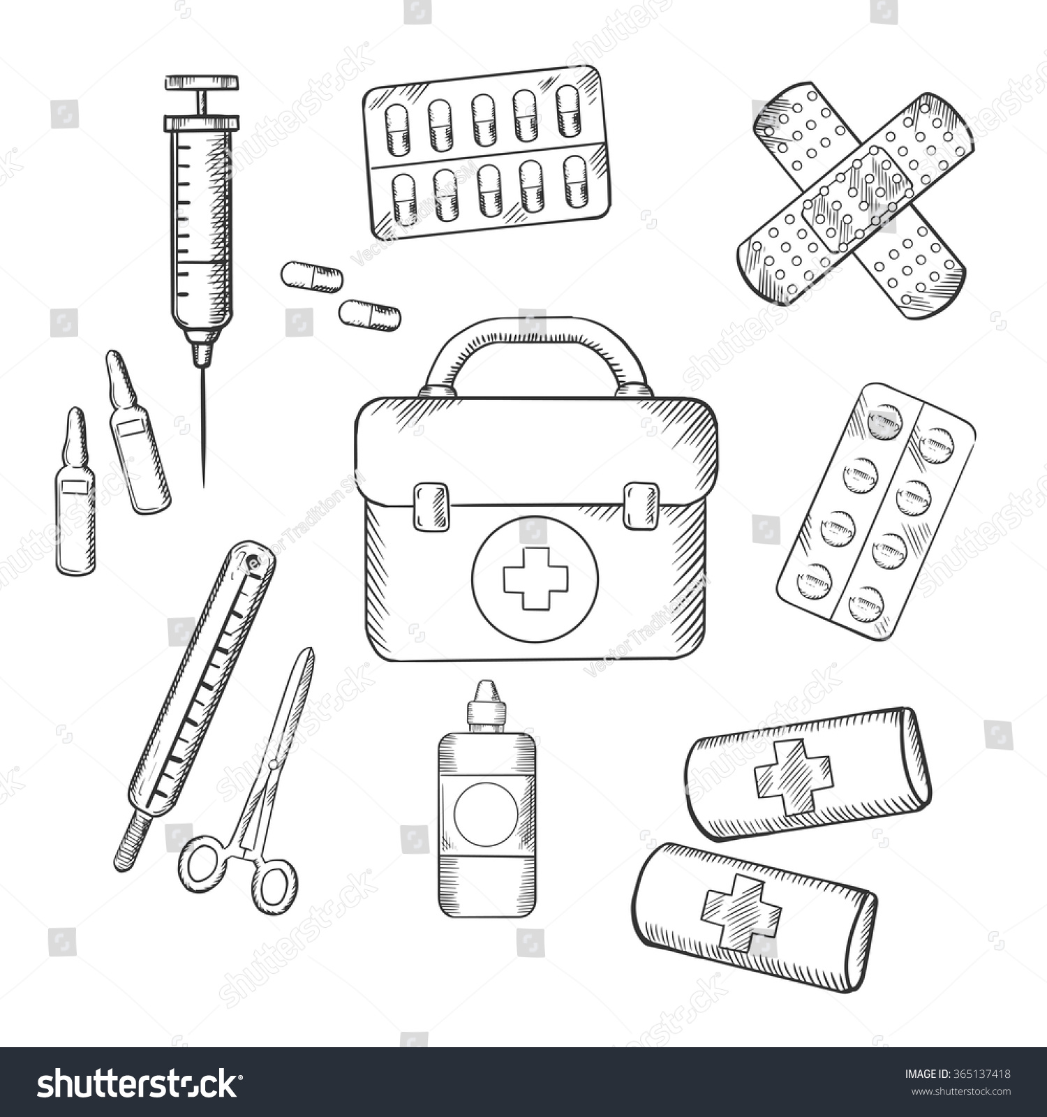 Ambulance Concept Sketch Icons First Aid Stock Vector